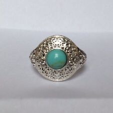 Silver Statement Ring Size Small Blue Stone Aztec Tribal NEW Circle Round