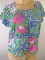 ☆  Ladies Green/Blue/Pink Flower Print Shirt Blouse Top UK 12-14 EU 40-42 ☆