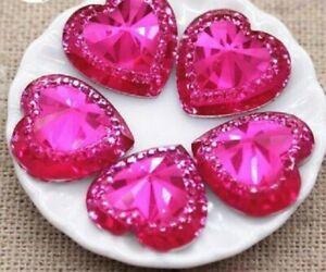 10 pcs Hot Pink faceted heart Acrylic Flat back Cabochon Art Supply Decor 15mm