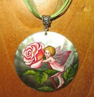 SHELL Pendant The ROSE FLOWER FAIRY Beautiful GIRL Genuine Russian hand painted