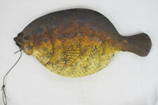 Vintage HUGE Folk Art Carved&Painted Flounder Fish by Minister Randy Hofman  yqz