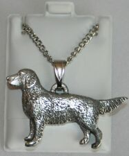 Golden Retriever Dog Harris Fine Pewter Pendant w Chain Necklace Usa Made