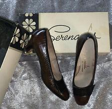 Florsheim 60's Brown Heels Slip On Mod Mid Century Womens Shoes Size 6 1/2�