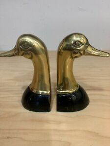 Vintage Solid Brass Duck Head Book Ends