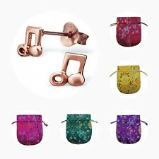 Childrens Girls Rose Gold Plated Sterling Silver Music Note Stud Earrings - Pouc