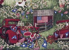 Summer Patriotic Pickup Flag Barn Dog curtain valance