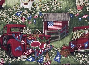 Summer Patriotic Red Pickup Flag Barn Dog curtain valance