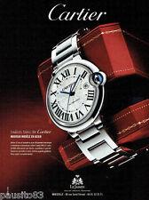 PUBLICITE ADVERTISING 115  2009  Cartier  montre  Ballon Bleu  acier