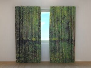 Curtain Bedroom Art Vincent van Gogh Trees and Undergrowth Printed Wellmira 3D