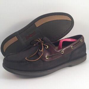 Men's Rockport Black Nubuck, Leather Deck Boat Shoes Size 12 M