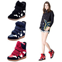 Womens Strap High-Top Sneakers Shoes Ladys Ankle Hidden Wedge Boots Casual Shoes