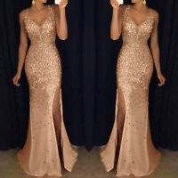Women Sequin Prom Party Ball Bridesmaid Gown Sexy Gold Evening V-Neck Long Dress