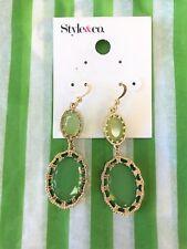 STYLE & CO Faux- Green Jade Gold Tone Drop Earrings NEW