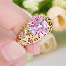 Women's Size 7 Cute Pink Sapphire yellow Rhodium Plated Rings Gift