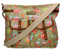 SWANKYSWANS Womens Ladies Crossbody Owl Canvas Day School Satchel Designer Bag