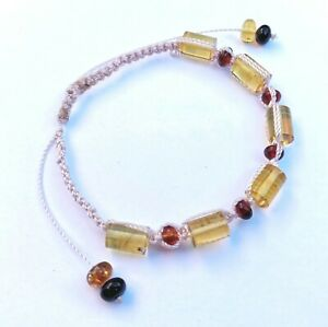 Abundance bracelet made by Mayans Chiapas Mexico Red and Yellow Amber