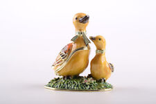 Duck Faberge trinket box hand made by Keren Kopal w/ Austrian crystal