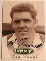 1995 FUTERA HERITAGE CRICKET COLLECTION CARD N0 33/60 SIGNED RON GAUNT