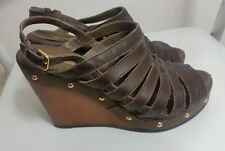 geox womens brown gladiator wedge slingbacks size 37 4 studded high heel sandals