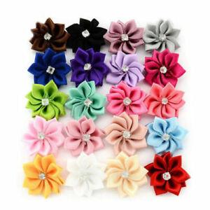 10-80pcs Satin Ribbon Flowers Bows w/Rhinestone Craft Wedding Dresses DIY