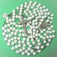 "VINTAGE 15 DECADES 47"" ROSARY WHITE GLASS BEADS SAINT ANN OF BEAUPRE & BASILICA"