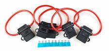 5 Pack 8 Gauge In-line ATC Fuse Holder + 15A AMP Fuse w/Cover Car Boat RV Alarm