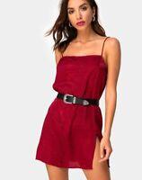 MOTEL ROCKS Datista Slip Dress in Satin Cheetah Raspberry Small S    (mr37)