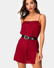MOTEL ROCKS Datista Slip Dress in Satin Cheetah Raspberry Small S    (mr37)