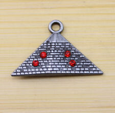 10 pcs Retro Egyptian civilization pyramid crystal alloy Charm Pendants 32x20 mm