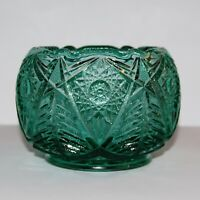 Fenton Art Glass Rose Bowl Spruce Green Starburst & Tree Pattern EUC
