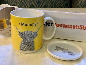 Next Hamish Highland Cow Family Mum Mug With Coaster ❤️ Mummy ❤️ Fine China