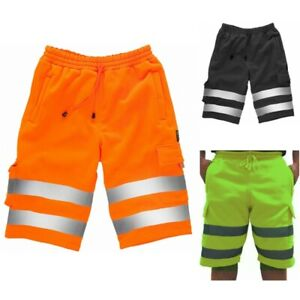 Hi Viz Mens Combat Work Wear Jogging Shorts Bottoms Brush Trouser Safety
