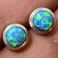 Fire Opal Stud Round Shape 925 Sterling Silver Earrings Jewelry DEE5073_G