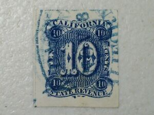 19th Century California State Revenue Tax Stamp,  10 Cents, Imperforated