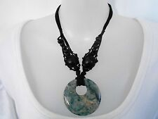 Black Bead  with Stone Pendant on Cord Necklace