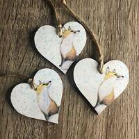 Fox Wooden Hearts Christmas Tree Decorations, Gift Tags Handmade 3 Set