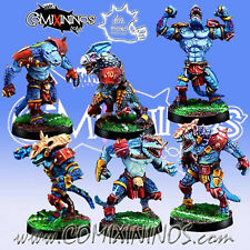 Fantasy Football - Lizardmen SET of 6 SAURUS  Blood Bowl - Meiko Miniatures