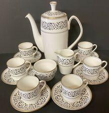 Shelley Black Grecian Scroll 15 Piece Coffee Set