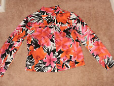 Caribbean Joe Orange, Brown & Pink Cotton & Spandex Floral Jacket Sz S LOVELY!