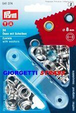 OCCHIELLI CON RONDELLE 8mm PRYM Argento occhiello vela metallici Pinza 541374