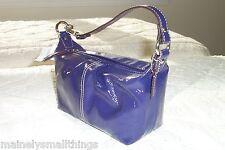 NWT COACH Purple Patent Leather Pleated Top Handle Zip Top Handbag Z46474