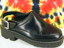 size 5.5-6 vintage 90's black leather JOHN FLUEVOG ANGELS slingback mules shoes