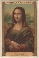 La Joconde - Mona Lisa - Vintage French Chocolate Trade Card Chocolat Matte Fils