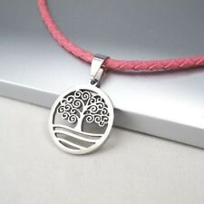 Pink Leather Cord Silver Tree Of Life Celtic Stainless Steel Necklace Pendant