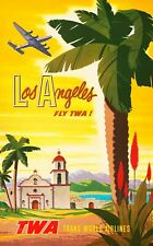 Vintage Travel Poster Los Angeles fly TWA