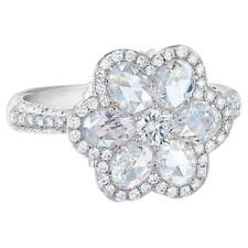 Facets Seven CZ Flower Engagement Ring with Rose Cut CZ and 925 Sterling Silver