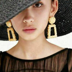 UK Women Fashion Square Geometric Large Metal Dangle Drop Earrings Dangle Trendy