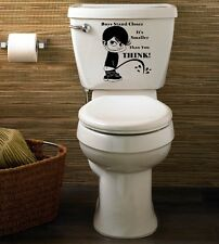 CUT VINYL TOILET LID /  CISTERN  STICKER /  DECAL BOYS STAND CLOSER ITS SMALLER
