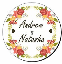 24 Personalised Wedding Engagement Mehndi Stickers Decorative Floral Border