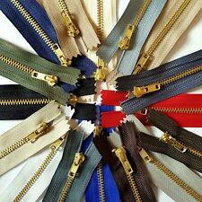 YKK BRASS METAL GOLD TEETH CLOSED ENDED ZIP NO 3 8 INCH 20CM X5 JOB LOT